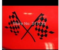 Cheap (100 pieces  lot) Wholesale grid flag auto racing vinyl stickers decals for car styling