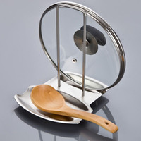Wholesale Stainless Steel Pan Pot Rack Cover Lid Rack Stand Spoon Holder Spoon Rest order lt no track