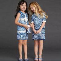 art style clothing - 2016 Spring Luxury Big Girls Jacquard Dress China Blue Art Sleeveless Cotton Children Clothing Kids Dresses K6359