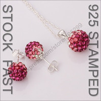 Wholesale Top Quality sets Fuchsia Gradient Austrian Crystal Disco Ball Sterling Silver Shamballa Jewelry Sets