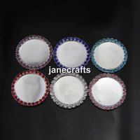 Wholesale 30pcs Mix Colors Rhinestone mm inner mm Base Tray Button Round Cabochon Setting Flatback Alloy Wedding Jewelry Findings