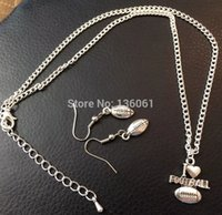 Wholesale 10Set Vintage Silver Football Rugby Charms Statement Choker Necklace Earrings Pendant Fashion Jewelry Sets For Women Q619