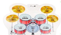 Wholesale 2015 hot sale USB MIDI Drum Kit PC Desktop Roll up Electronic Drum Pad Portable with Drumsticks I198