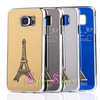 aluminium towers - For Galaxy S6 D Embossed Luxury Metal France Eiffel Tower Shinning Hard PC Phone Back Case Cover Aluminium Alloy For Samsung G920F G9200