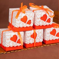 red heart candy - Wedding Candy Box Love Heart Shape Party Wedding Baby Shower Favor Paper Gift Boxes Event Party Supplies with Ribbon Colors