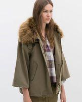 Women Cotton  Brand New 2014 Fashion Women Ladies Army Stylish Brief Faux Fur Neck Parker Jacket Winter Coat Jackets
