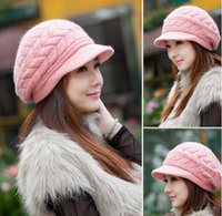 Wholesale Knitted Hats girls Warm earmuffs winter Skullies Beanies for women yarn wool hat rabbit fur woolen flower dome beret cap