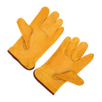 safety glove - Size L Quality Leather Safety Gloves Working Protection Safety Welding Gloves For Machine Yellow DHL Y1467