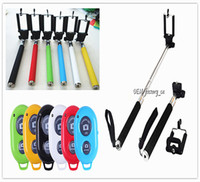 Wholesale Extendable Handheld Monopod Selfie Stick Bluetooth Remote Shutter Controller Self timer for iPhone s Samsung S7 edge S6 Android IOS