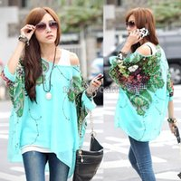 Cheap Hot Sale 2014 Women Summer Autumn Bohemian Batwing Sleeve Flowers Printed Chiffon Shirt Tops Oversized Blouse Tees B18 SV000978