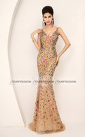 Wholesale 2015 New In Stock Crystals Beads V Neck Mermaid Long Real Image Bling Bling Dresses Gowns For Prom Evening Designer Special Occasion