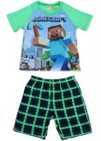 Cheap large baby pajamas summer new minecraft baby sleepwear suit 6-12y boy-kids t-shirts+Pants minecraft clothes minecraft pyjamas 10pcs