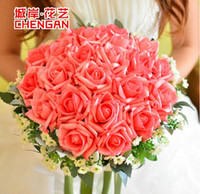 Wholesale In Stock Romantic Wedding Bouquet Perfect Wedding Favors Hand Holding Flower Artificial Flowers Adornment Silk