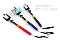 Wholesale Self timer Camera Tripod Mobile phone Extendable Monopod Ski Pole Handle With Cable Take Pole For Cell Phone Phone Samsung HTC PSM01