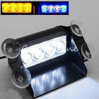 Wholesale New Design Universal LED Emergency Car Vehicle Windshield Sucker Warning Strobe Flash Light Lamps fit for truck for SUV