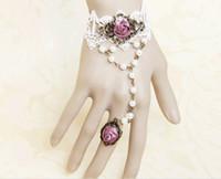 Wholesale Fashion Wedding Wrsit And Finger Accessories Lavender Satin Flowers Wrist Rose Vintage Chain Gothic Slave Finger Bands Bracelets Hand Outfit