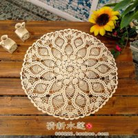 Wholesale Handmade crochet flower cotton lace tablecloth idyllic small round hollow braid decorated nostalgic retro beige mat