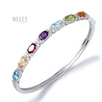 Wholesale Authentic natural colored gemstone bracelet silver amethyst peridot Topaz fashion ladies section