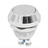 "Cheap New 12mm 1 2"" Anti-Vandal Momentary Metal Push button Switch Flat Top Chrome"
