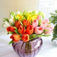 Wholesale 36CM High Big Size Artificial PU Real Touch Fresh Tulips bundle Decorative Flowers Home Decoration Wedding Bridal Bouquet