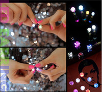 flashing christmas jewelry - Novelty LED Flashing Light Stainless Steel Rhinestone Ear Stud Earrings Fashion Jewelry rave toys gift Colors LED Earrings for Christmas
