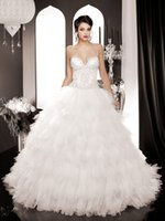 Wholesale Gorgeous Corset Bodice Sweetheart Princess Wedding Dresses Beading Rhinestones Long Tiered Ball Gown Bridal Wedding Dress New Arrival Prom