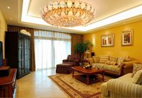 Wholesale Traditional K9 Crystal Ceiling Light golden E Round LED Ceiling Light leaves the living room
