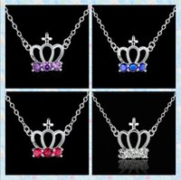 al por mayor los collares de color rojo la corona-Plata 925 collar de cristal corona Moda Colgante púrpura / azul / rojo / blanco