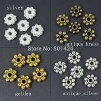 bali bronze - Tibetan zinc alloy silver glod bronze plated mm Daisy spacer beads bali beads