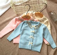 baby blue wool coat - pieces rabbit wool cotton Baby Girls pearl collar Sweater Coat Girl bow Cardigan outerwear y A bg1008