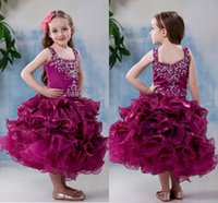 Wholesale 2015 Tea Length Organza flower girl dress Off the Shoulder Zipper Back Ruffled Skirt With Beads Body Girl Pageant Gown zahy871