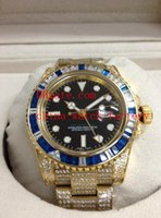 eta swiss movement - Luxury Top Quality Mens Watch GMT K Rose Gold Full Diamond Bracelet Swiss ETA Movement Automatic Men s Watches