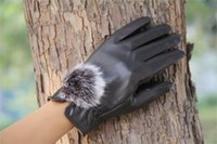 Wholesale 2014 winter Women s Winter Fashion Warm Thicken Rabbit fur ball Gloves High quality Mittens Color