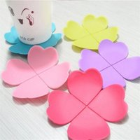 Wholesale 2015 Hot Sale Sweet Novelty Environmentally Friendly Soft Silicon Clover Heat Insulation Cup Pads Mat colors fashion simple style