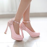 Wholesale women hot sale high heels prom wedding shoes lady crystal platforms silver Glitter Sequins thick with pump shoes