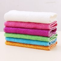 bamboo waste - Hot sale Pure Bamboo Fibre Dishcloth Oilproof Non sticking Double deck Waste absorbing Thickening Kitchen Cleaning Cloth
