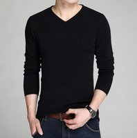 al por mayor hombres s manga larga jersey-La venta caliente la caída de la manga larga del hombre de la camisa de la manga delgada de la camisa delgada delgada V de los hombres del suéter de la camisa del Knit de los hombres Suéter 100%