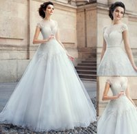 country wedding dresses - 2015 Famous Cap Sleeves Sheer Wedding Dresses White Tulle Appliques Lace Sweetheart A line Bridal Gowns Traditional Country Bride Dress UK