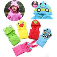 Wholesale Linda Rain Coat children Raincoat Kids Waterproof cartoon Frog Rabbit Car Design Raincoat Children s cartoon poncho for cm cm Free DHL