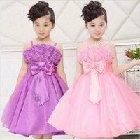 Cheap Hot Sale! 2015 Summer Kids Vest Dress Princess Girls Party Sling Dress Party Dress Flower Girl 3T-12 size