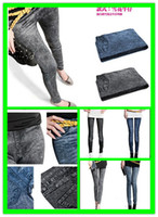 jeans wholesale price - 2015 Factory Price Women Fashion leggings faux denim jeans looks ladies skinny leggings pencil pants slim elastic stretchy jegging L515