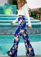 Cheap Casual Bohimian Pants For Women Floral Printed Exuma Pants Preppy Women's Palazzo Wide Leg Pant Flare Trousers