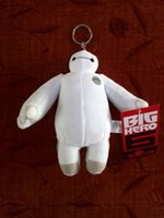 auto video games - 18cm Big Hero Baymax Pendant White Stuffed Plush Toys Doll with Hang Ring Key Chains Hanging Bag Auto Kids Christmas Promotion Gift