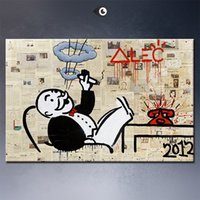 big monopoly - High Quality genuine Hand Painted Wall Decor Alec monopoly no5 big Graffiti Pop Art Oil Painting On Canvas