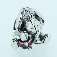 pandora jewelry - 2015 New Sterling Silver Eeyore Charm Bead with Pink Enamel Fits European Pandora Jewelry Bracelets Necklaces Pendants