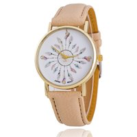aw leather - Pastel Dreamcatcher Watch With Faux leather strap Golden Dial Women Watch Quartz Watches PU Leather Strap Watch AW SB