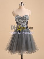 Wholesale Sexy Beaded Sweetheart Ruffles Tulle Short Prom Dresses Homecoming Dresses Party Dresses Cocktail Dresses Custom Made Dropshipping