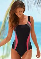 Wholesale Lascana Womens One Piece Swimsuit Sports Professional Swimwear Belt Pad Female M XXL Stripes Swimsuit Classic Sports Bathing Suit SV014985