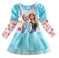 ann summers - Girls Summer Fashion Kid s Clothes Princess Girls Lace O Ncek Floral Long Sleeve Frozen Character Elsa Ann Gauze Dress Blue N0209