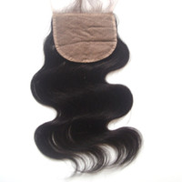 Wholesale 4 inch Silk Base Lace Closure Hidden Knots Free Middle Way Part A Grade Body Wave Brazilian Virgin Hair Silk Top Closure